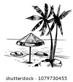 tropical landscape with palm... | Shutterstock .eps vector #1079730455
