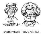 sketch of old woman face ... | Shutterstock .eps vector #1079730461