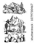 sketch of the desert of america ... | Shutterstock .eps vector #1079730467