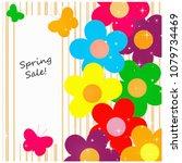 flowers and butterflies spring... | Shutterstock . vector #1079734469