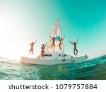 happy crazy friends diving from ... | Shutterstock . vector #1079757884