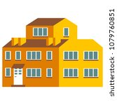 flat cartoon house. cute bright ... | Shutterstock .eps vector #1079760851