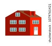 flat cartoon house. cute bright ... | Shutterstock .eps vector #1079761421
