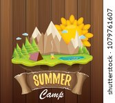 summer camp kids logo concept... | Shutterstock .eps vector #1079761607