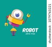 vector orange cartoon cute flat ... | Shutterstock .eps vector #1079763221