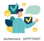 a person leaves a good online... | Shutterstock .eps vector #1079770037