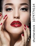 beauty girl with red lips and... | Shutterstock . vector #1079774114