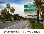 a street sign outside nice... | Shutterstock . vector #1079775821
