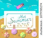 2018 hot summer  blue sea and... | Shutterstock .eps vector #1079785274