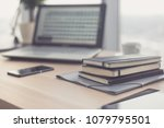 documents on office table with...   Shutterstock . vector #1079795501