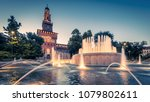 panoramic view of sforza castle ... | Shutterstock . vector #1079802611