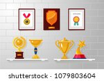 trophy and awards collection on ... | Shutterstock .eps vector #1079803604