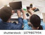 couple planning travel.... | Shutterstock . vector #1079807954