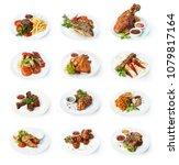 set of various restaurant meals ... | Shutterstock . vector #1079817164