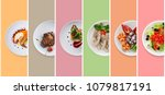 set of various restaurant meals ... | Shutterstock . vector #1079817191
