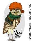 vector owl with glasses  orange ...   Shutterstock .eps vector #1079817737