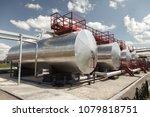 oil industry. oil storage tanks ... | Shutterstock . vector #1079818751