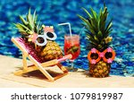 couple of attractive pineapples ... | Shutterstock . vector #1079819987