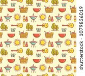 seamless picnic pattern with... | Shutterstock .eps vector #1079836019