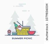summer picnic in nature. vector ...   Shutterstock .eps vector #1079836034