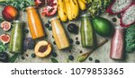 flat lay of colorful smoothies...   Shutterstock . vector #1079853365