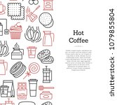 vector tea and coffee linear... | Shutterstock .eps vector #1079855804