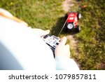 Child Played Red Rc Car Outdoor ...