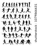 soccer player silhouettes | Shutterstock .eps vector #1079866631