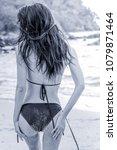 attractive woman in black... | Shutterstock . vector #1079871464