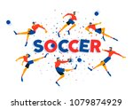 soccer player team illustration ... | Shutterstock .eps vector #1079874929