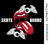 skateboard. vector placard with ... | Shutterstock .eps vector #1079877794