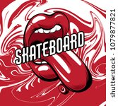 skateboard. vector placard with ... | Shutterstock .eps vector #1079877821