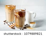 ice coffee in a tall glass with ... | Shutterstock . vector #1079889821