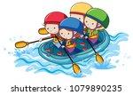 doodle kids rafting on white...   Shutterstock .eps vector #1079890235