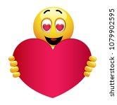 cute smiley emoji being in love.... | Shutterstock .eps vector #1079902595