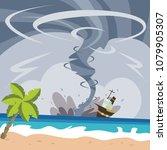 huge typhoon and hurricane... | Shutterstock .eps vector #1079905307
