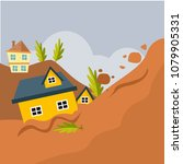 land slide hitting a village in ... | Shutterstock .eps vector #1079905331
