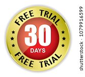 free trial 30 days badge with...   Shutterstock .eps vector #1079916599