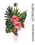 watercolor tropical flowers on... | Shutterstock . vector #1079926874