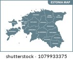 the detailed map of estonia... | Shutterstock .eps vector #1079933375