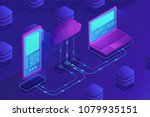 isometric cloud storage concept.... | Shutterstock .eps vector #1079935151