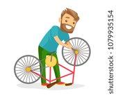 caucasian white man working in... | Shutterstock .eps vector #1079935154
