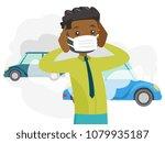 black man wearing mask because... | Shutterstock .eps vector #1079935187