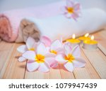 flowers and spa massage items... | Shutterstock . vector #1079947439