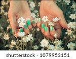 hands with short matte... | Shutterstock . vector #1079953151