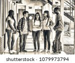 group of mixed races teenagers... | Shutterstock . vector #1079973794
