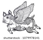 flying winged pig with tattoo... | Shutterstock .eps vector #1079978141