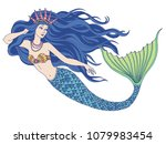 hand drawn mermaid holding a... | Shutterstock .eps vector #1079983454