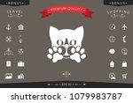 cute cat  paws   logo  symbol ... | Shutterstock .eps vector #1079983787