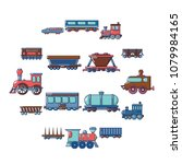 railway carriage icons set....   Shutterstock .eps vector #1079984165